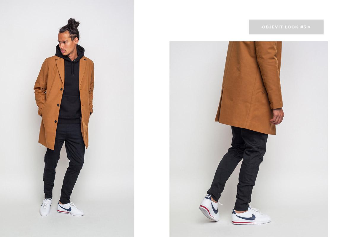 Freshlabels — lookbook — podzim/zima 2016 — pánský hnědý kabát RVLT 7450 — černé tepláky Anerkjendt — bílé tenisky Nike classic Cortez Leather