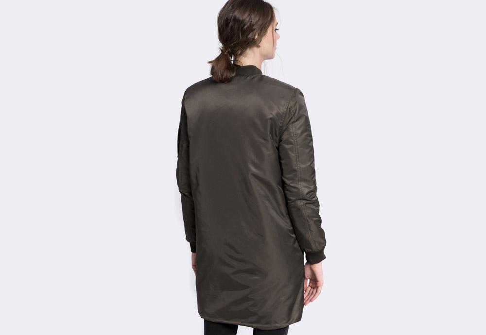Medicine — dlouhý dámský bomber — tmavě zelený (army green) — zateplený — bomber jacket — dámská dlouhá bunda