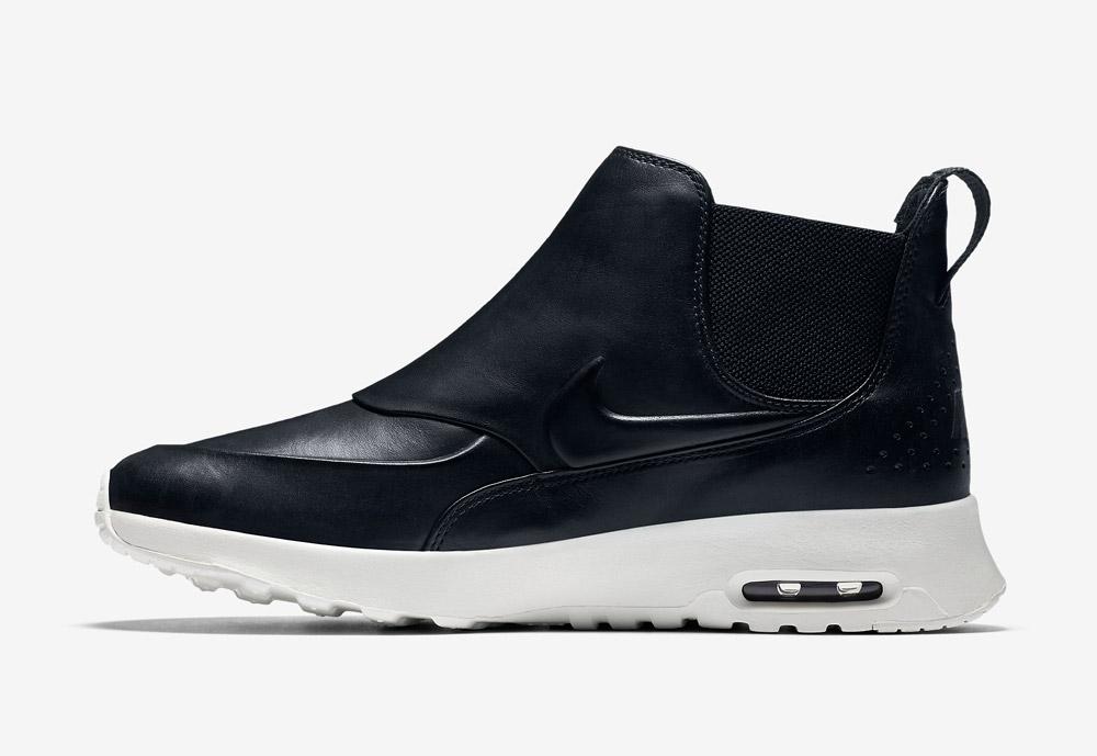Nike Air Max Thea Mid — dámská perka (Chelsea Boots) — kožené — slip on — dámské kotníkové boty — černé