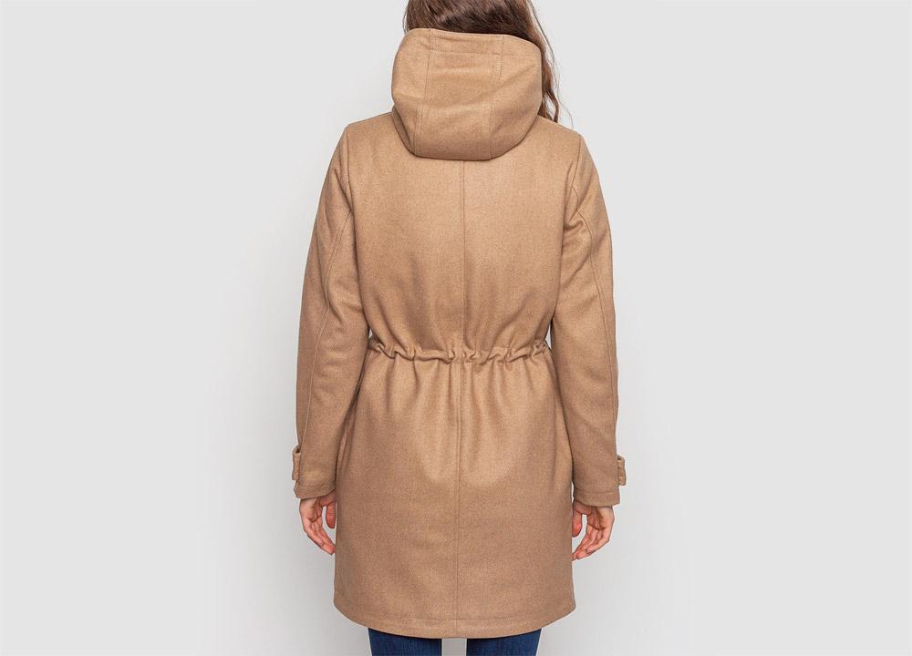 Wemoto — dámský kabát — zimní, vlněný — béžový — hnědý — zimní bunda s kapucí — Sania — zadní pohled