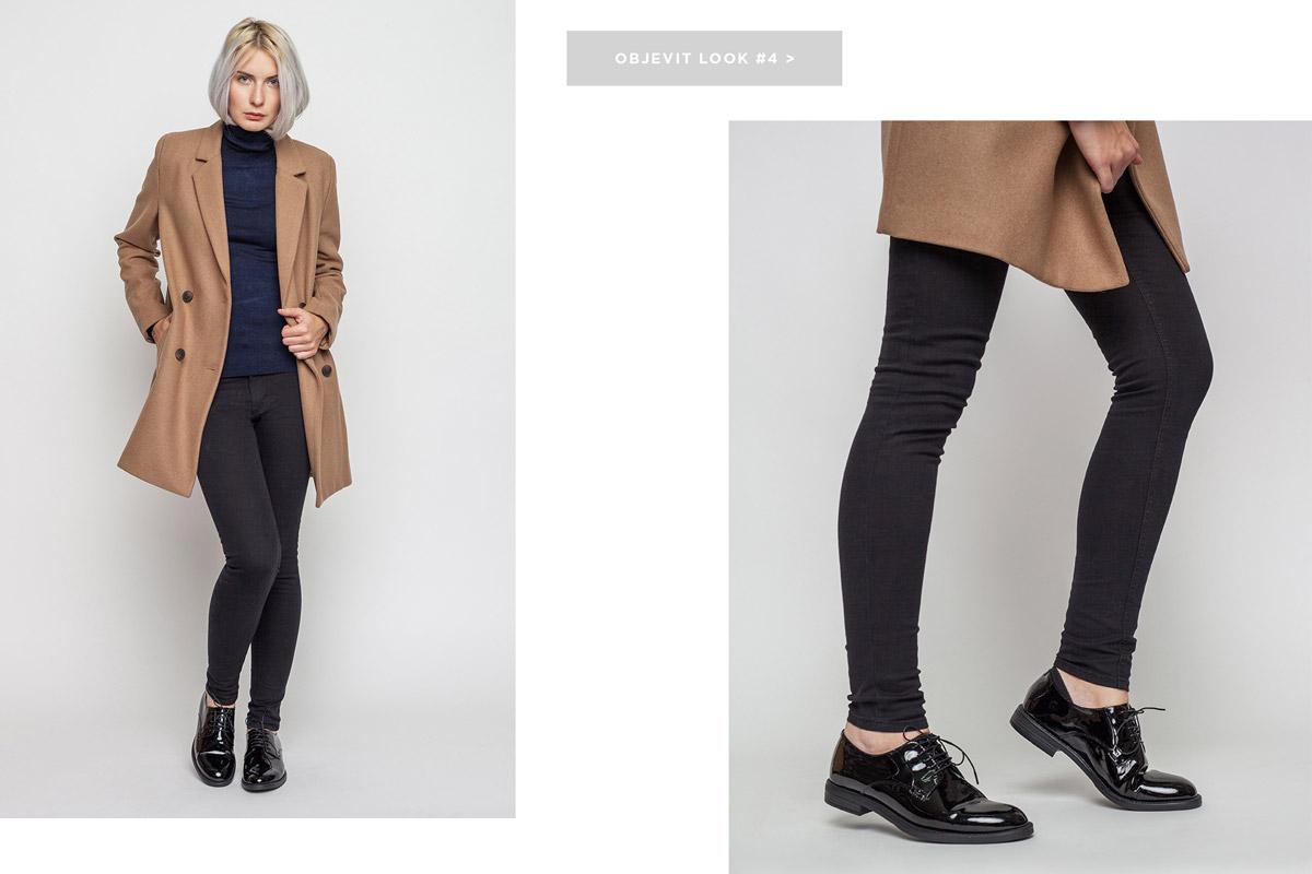 Freshlabels — lookbook — podzim/zima 2016 — dámský hnědý kabát — skinny fit černé džíny