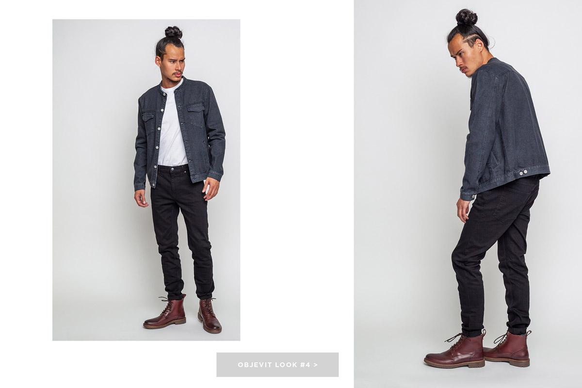 Freshlabels — lookbook — podzim/zima 2016 — pánská černá džínová bunda Anerkjendt — pánské černé slim fit kalhoty Cheap Monday — vysoké hnědé zimní boty Makia Avenue
