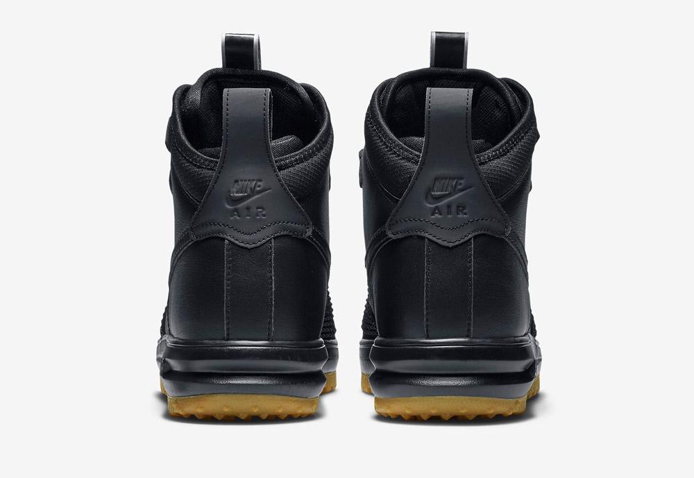 Nike Lunar Force 1 Duckboot — vysoké zimní boty — pánské — černé — zadní pohled