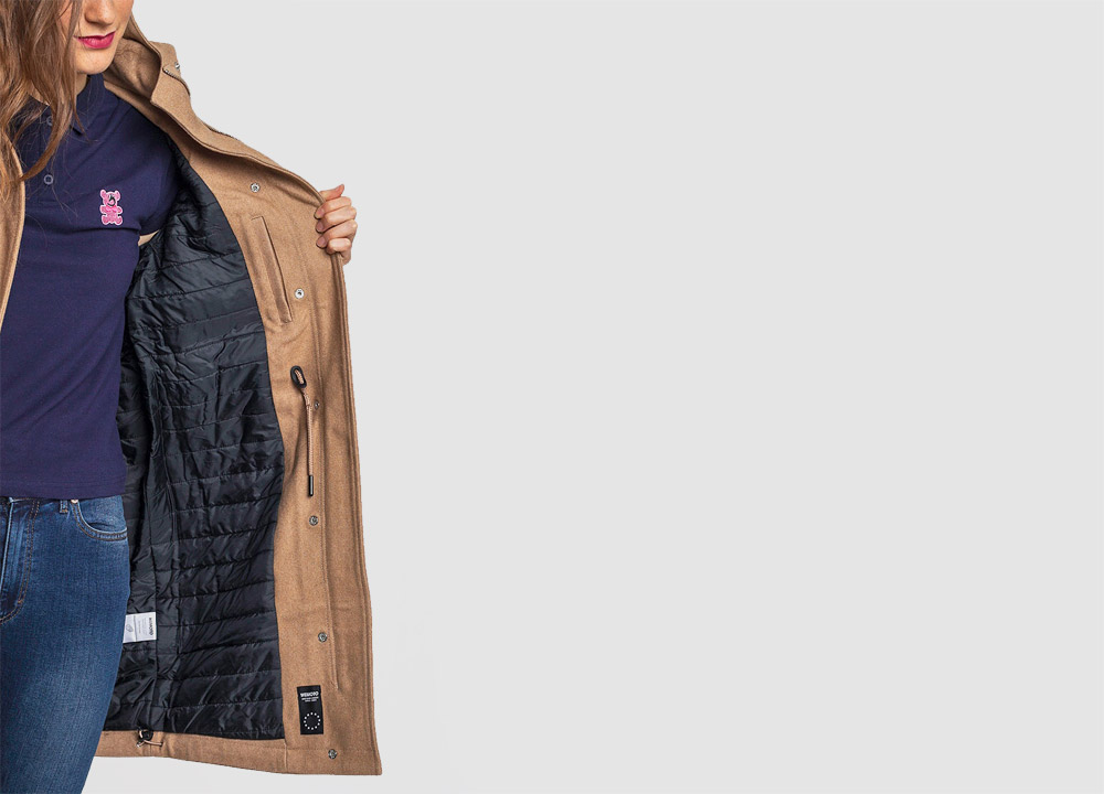 Wemoto — dámská zimní bunda s kapucí, parka — vlněná — béžová — hnědá — dámský zimní kabát — Sania — detail podšívky