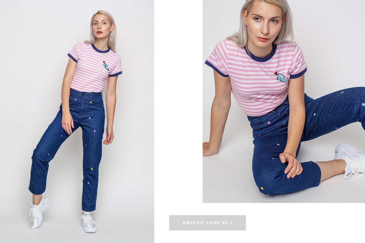 Freshlabels — lookbook — podzim/zima 2016 — modré kalhoty Lazy Oaf, krátké džíny — bílé tenisky Nike Air Huarache — dámské pruhované tričko, růžové