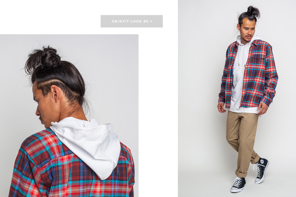 Freshlabels — lookbook — podzim/zima 2016 — pánská červená kostkovaná košile Patagonia — pánské béžové kalhoty Carhartt WIP — černé kotníkové tenisky Converse Chuck Taylor All Star