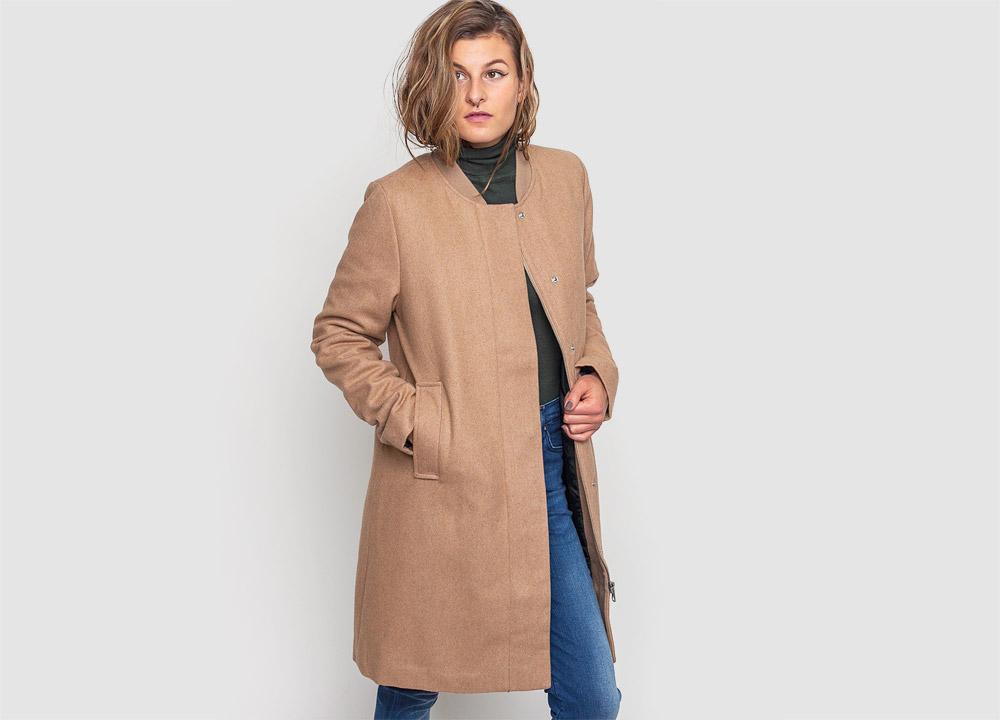 Wemoto — dámský zimní kabát — vlněný — béžový — hnědý — Megan