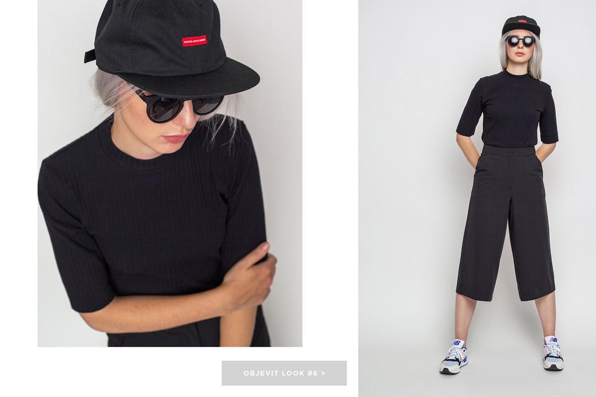 Freshlabels — lookbook — podzim/zima 2016 — dámské černé tričko Minimum — černé cullotes kalhoty — černá kšiltovka — dámské boty New Balance M530
