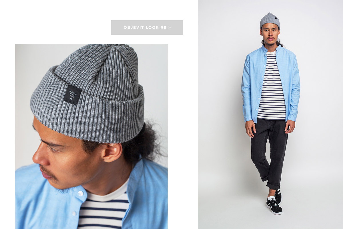 Freshlabels — lookbook — podzim/zima 2016 — pánská světle modrá košile RVLT 3531, dlouhý rukáv — černé slim fit kalhoty Cheap Monday — černé tenisky adidas Originals Gazelle