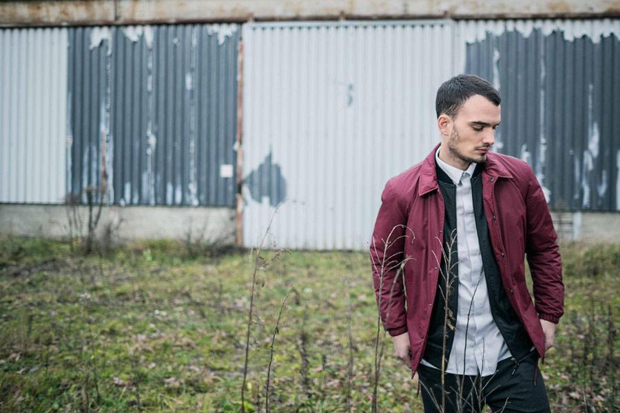 Iriedaily — pánská podzimní bunda do pasu s límcem — červená, vínová — podzim/zima 2016