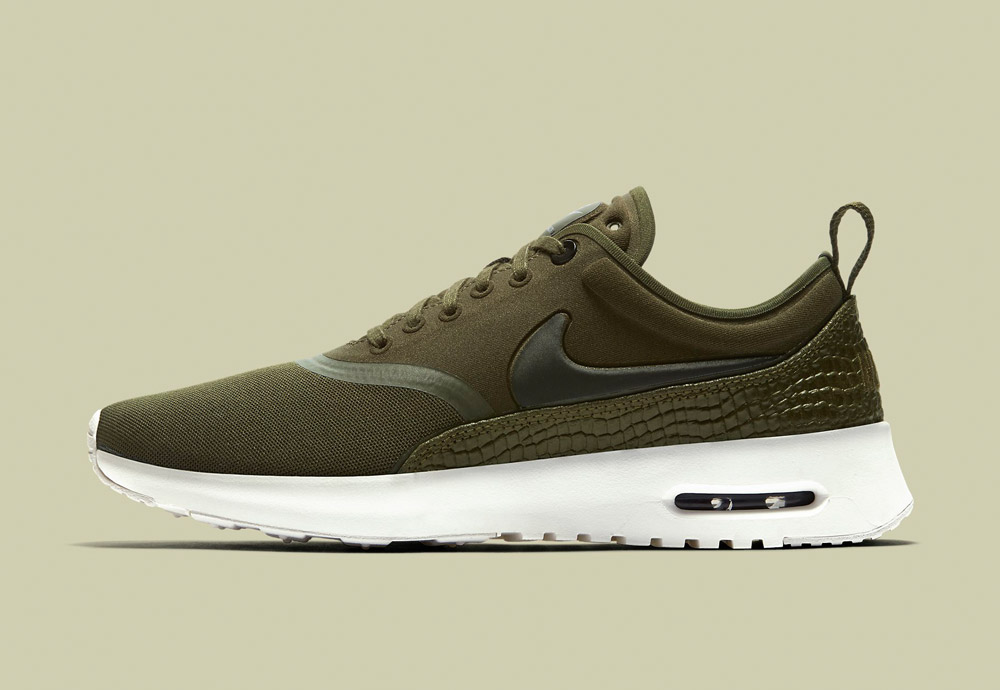 Nike Air Max Thea Ultra Premium — dámské boty — tenisky — sneakers — kožené — olivově zelené — army green