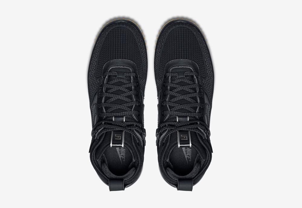 Nike Lunar Force 1 Duckboot — zimní boty — pánské — černé — horní pohled