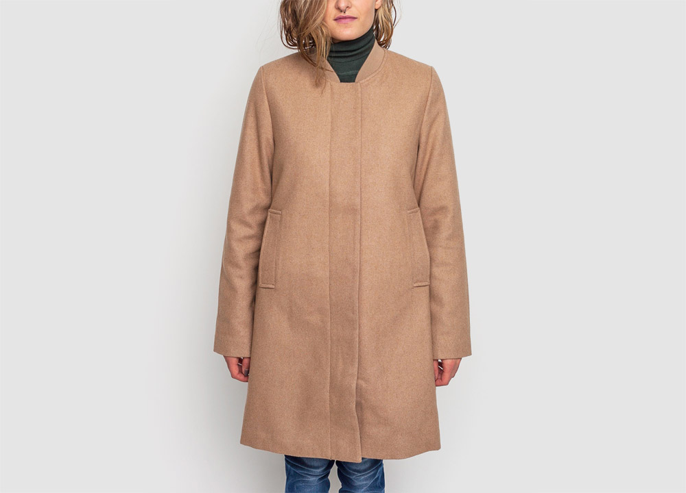 Wemoto — dlouhý zimní kabát — dámský — vlněný — béžový — hnědý — Megan