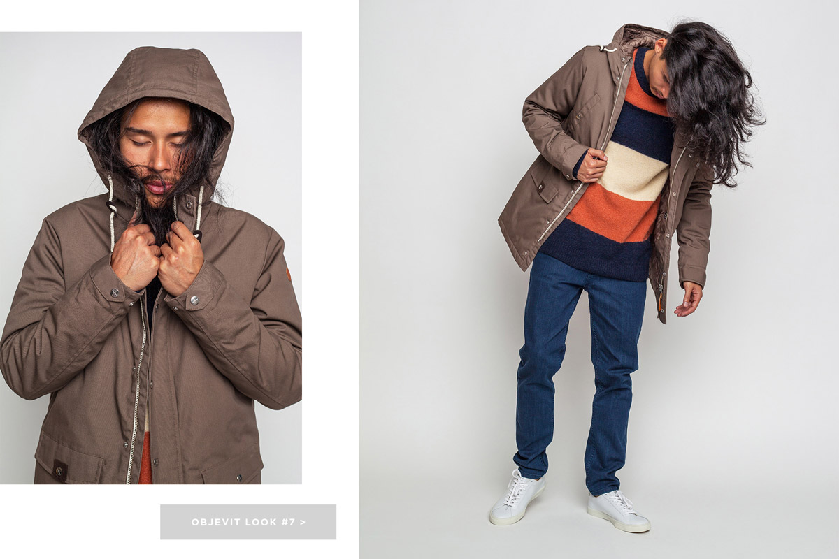 Freshlabels — lookbook — podzim/zima 2016 — pánský barevný svetr Wesc, oranžovo-modrý — pánská hnědá zimní bunda RVLT 7246, parka s kapucí — bílé tenisky Veja