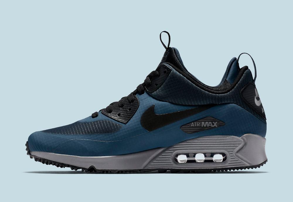 Nike Air Max 90 Mid Winter — pánské — zimní boty — tenisky — kotníkové sneakers — tmavě modré — Airmaxy
