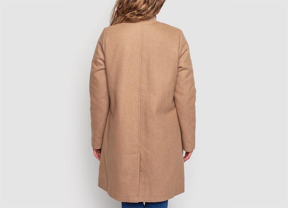 Wemoto — dámský zimní kabát — vlněný — béžový — hnědý — Megan — zadní pohled