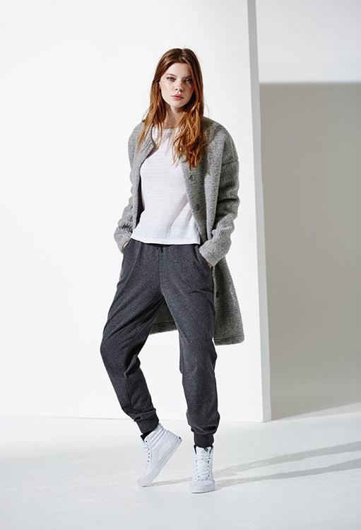 Bench — dámský dlouhý svetr, šedý kardigan (cardigan) — šedé tepláky, dámské — podzim/zima 2016