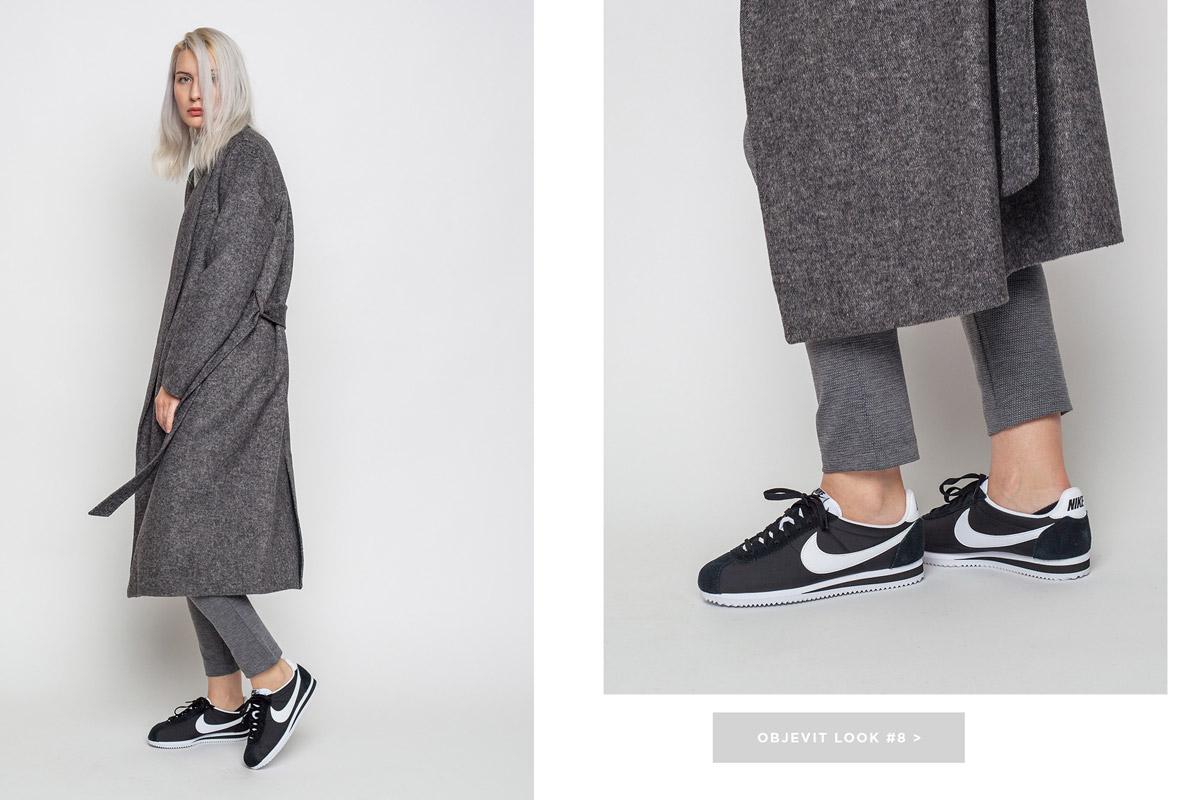 Freshlabels — lookbook — podzim/zima 2016 — dlouhý vlněný kabát Selected, dámský — šedý dámský rolák Cheap Monday — černé tenisky Nike Classic Cortez Nylon