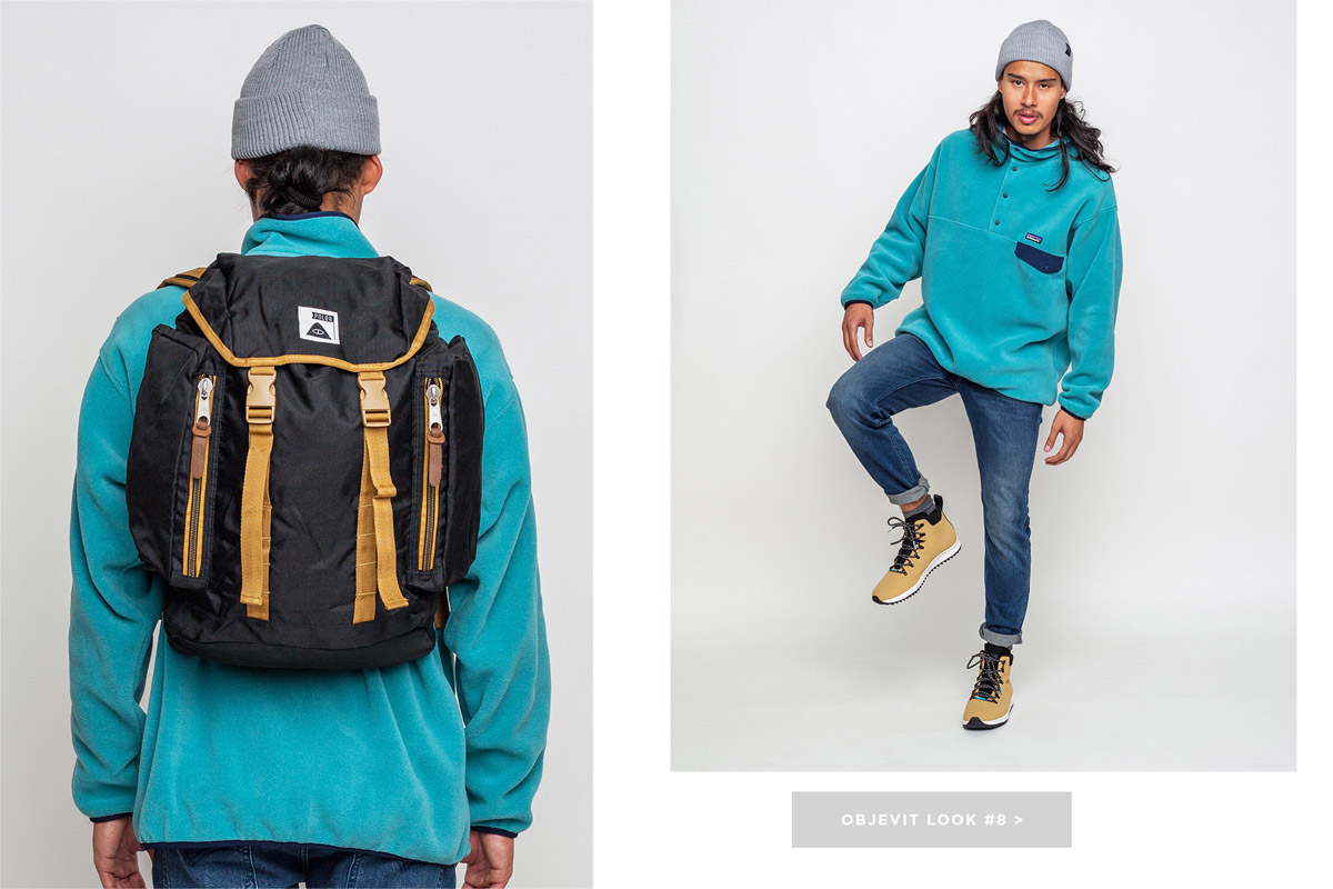 Freshlabels — lookbook — podzim/zima 2016 — pánský modrý tyrkysový fleecový pulover Patagonia — černý batoh Poler — hnědé zimní boty Native Shoes Apex