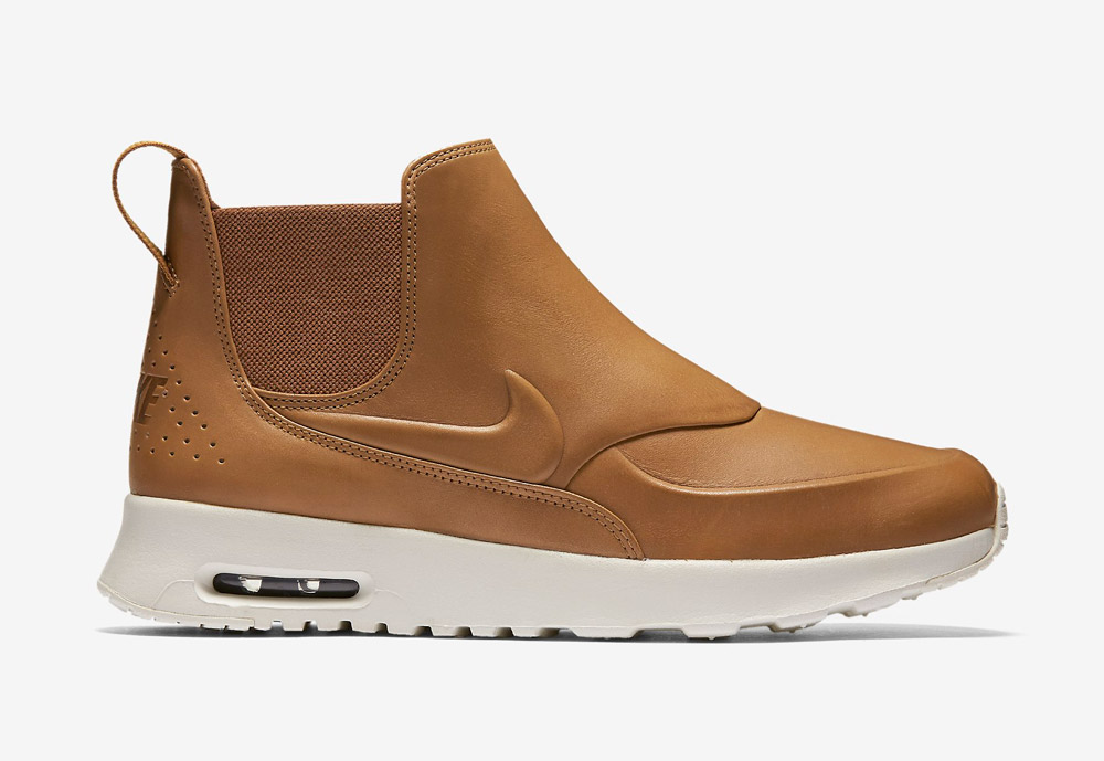 Nike Air Max Thea Mid — dámské kotníkové boty — kožené — slip on — dámská perka (Chelsea Boots) — hnědé, béžové, pískové