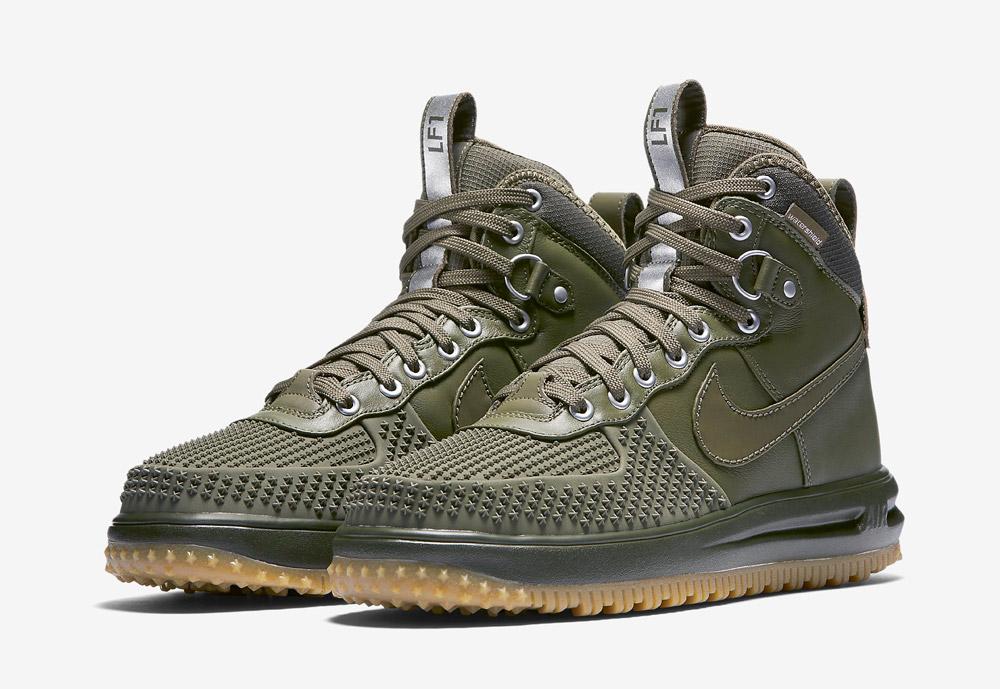 Nike Lunar Force 1 Duckboot — pánské zimní boty — vysoké — kotníkové, sportovní — zelené, olivové