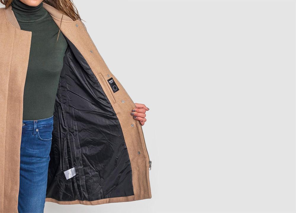 Wemoto — zimní kabát — dámský — vlněný — béžový — hnědý — Megan — detail podšívky