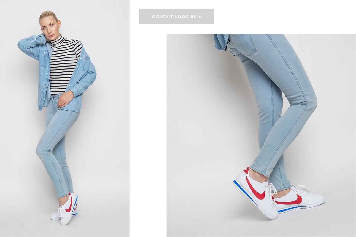 Freshlabels — lookbook — podzim/zima 2016 — dámská džínová košile Levi's, dlouhý rukáv — dámské světle modré skinny fit džíny Levi's — bílé tenisky Nike Classic Cortez Leather