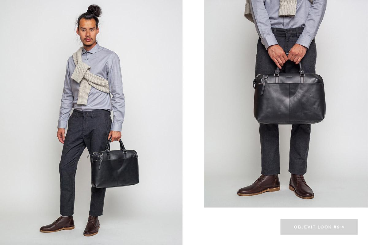Freshlabels — lookbook — podzim/zima 2016 — pánská šedá košile Selected — černé kalhoty Lee — kožená aktovka (taška) do ruky Sandqvist — desert boots Selected, pánské kotníkové boty, hnědé