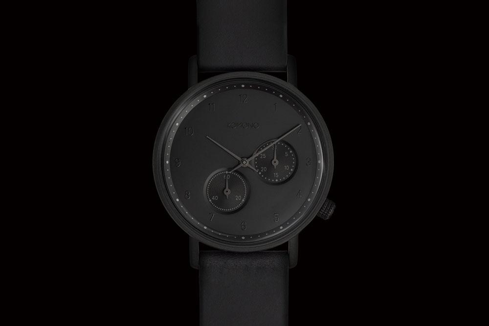 Komono Walther — hodinky — náramkové — černé