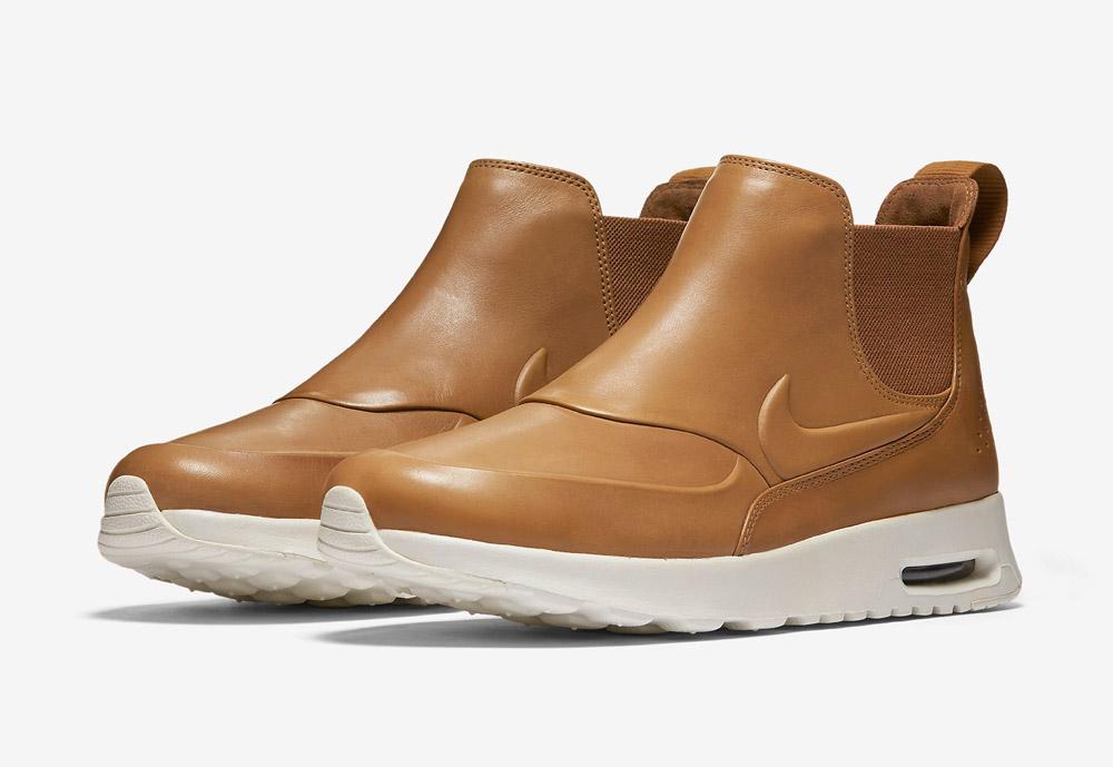 Nike Air Max Thea Mid — kotníkové boty — dámské — kožené — slip on — dámská perka (Chelsea Boots) — hnědé, béžové, pískové