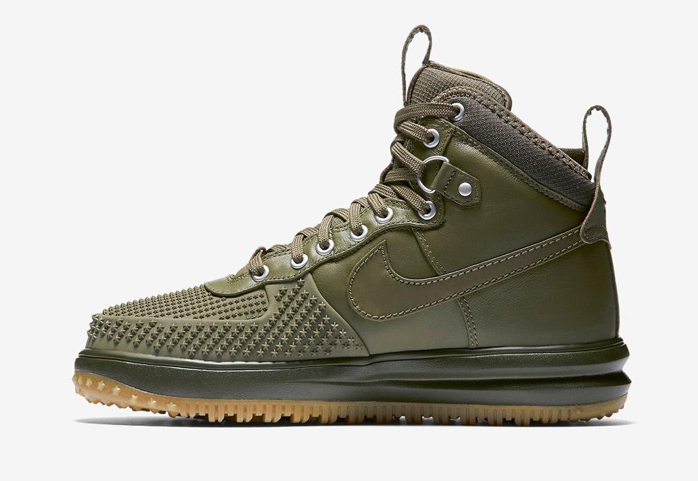 Nike Lunar Force 1 Duckboot — zimní boty — pánské — vysoké, kotníkové, sportovní — zelené, olivové