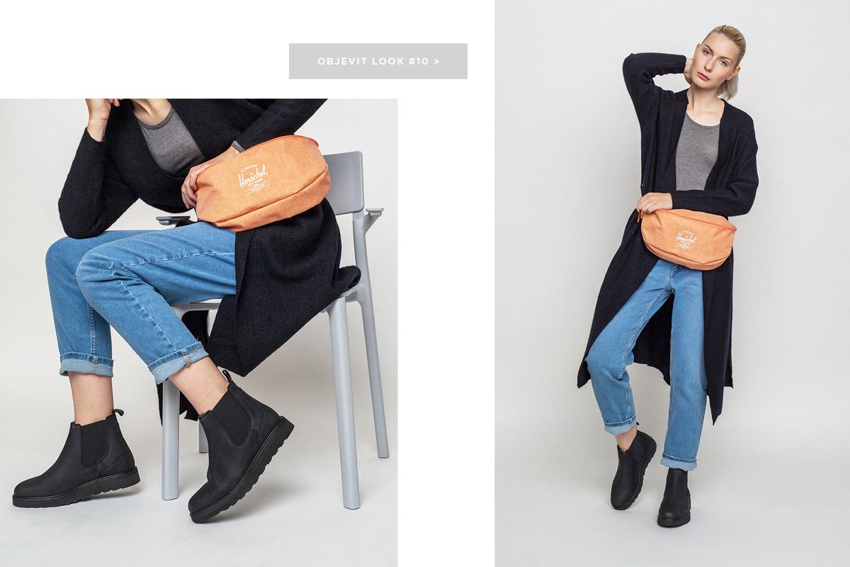 Freshlabels — lookbook — podzim/zima 2016 — černý kardigan Selected, dlouhý svetr — dámské rovné modré džíny 2nd One — dámská černá perka Wesc, chelsea boots