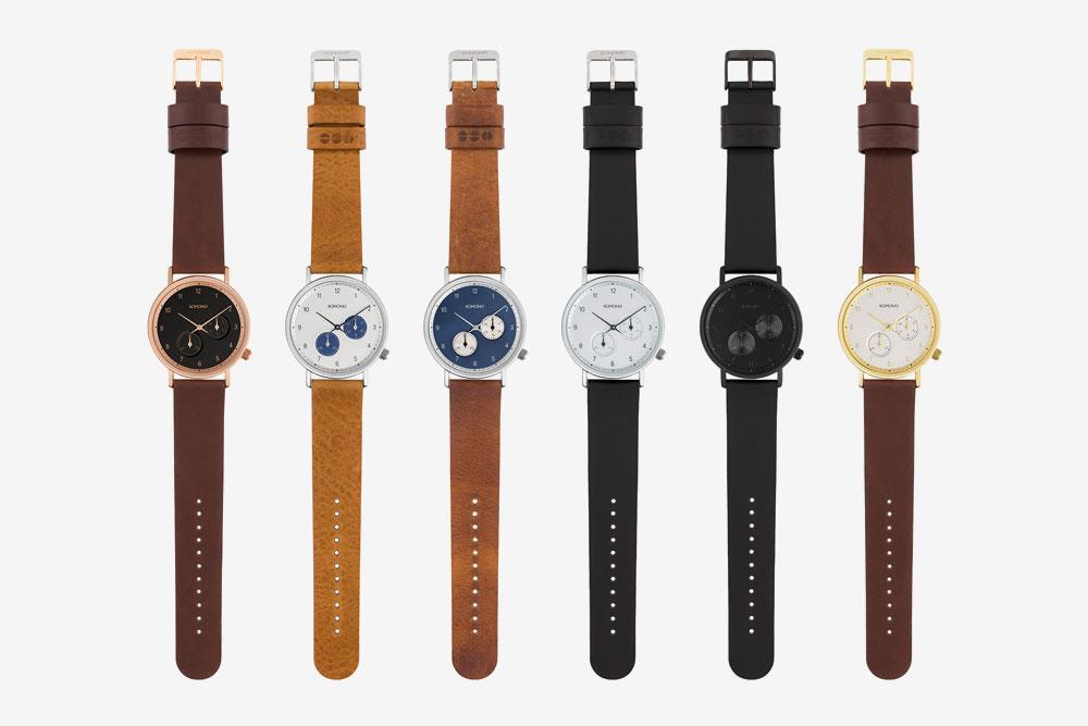 Komono Walther — hodinky — náramkové — ocelové pouzdro, kožený řemínek