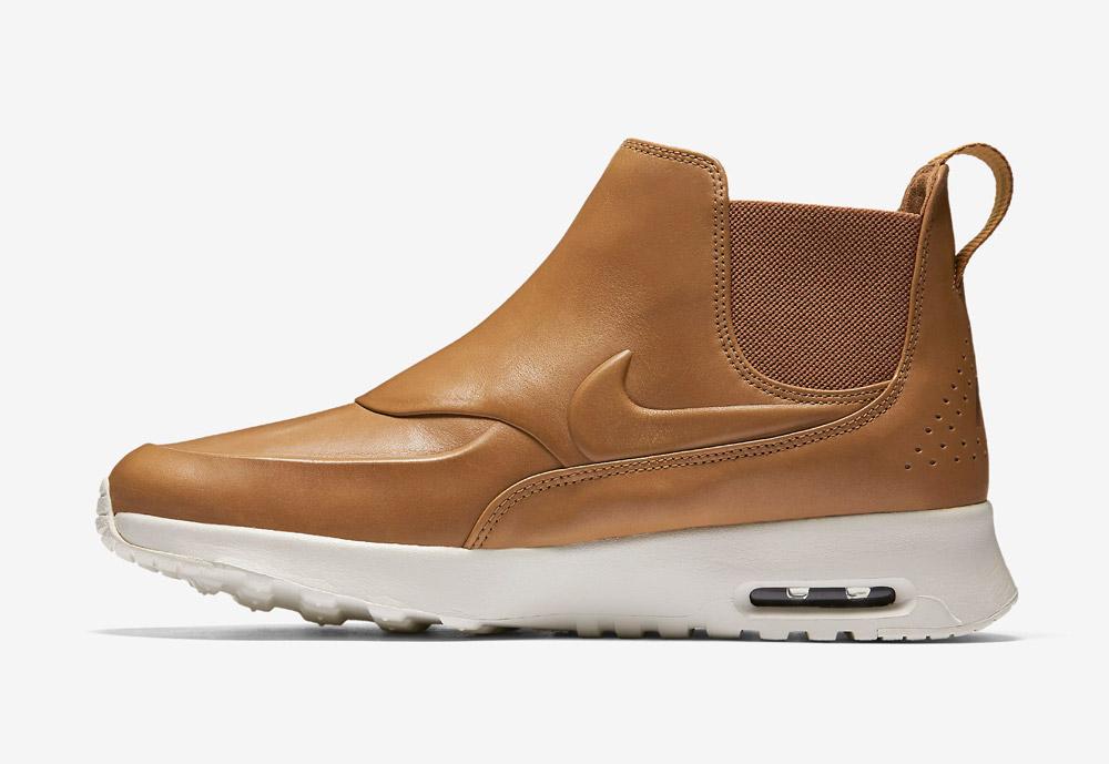 Nike Air Max Thea Mid — dámská perka (Chelsea Boots) — kožené — slip on — dámské kotníkové boty — hnědé, béžové, pískové