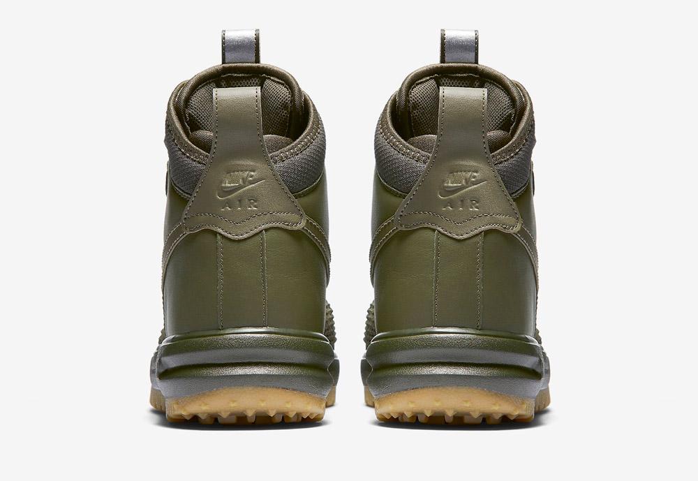 Nike Lunar Force 1 Duckboot — vysoké zimní boty — pánské — zelené, olivové — zadní pohled