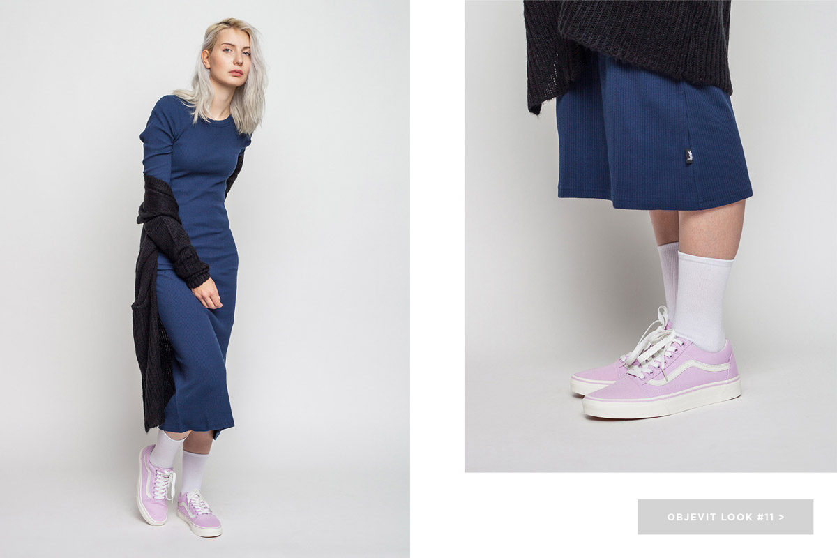 Freshlabels — lookbook — podzim/zima 2016 — dlouhé modré šaty Stussy — kardigan Selected, dlouhý svetr — růžové tenisky Vans Old Skool