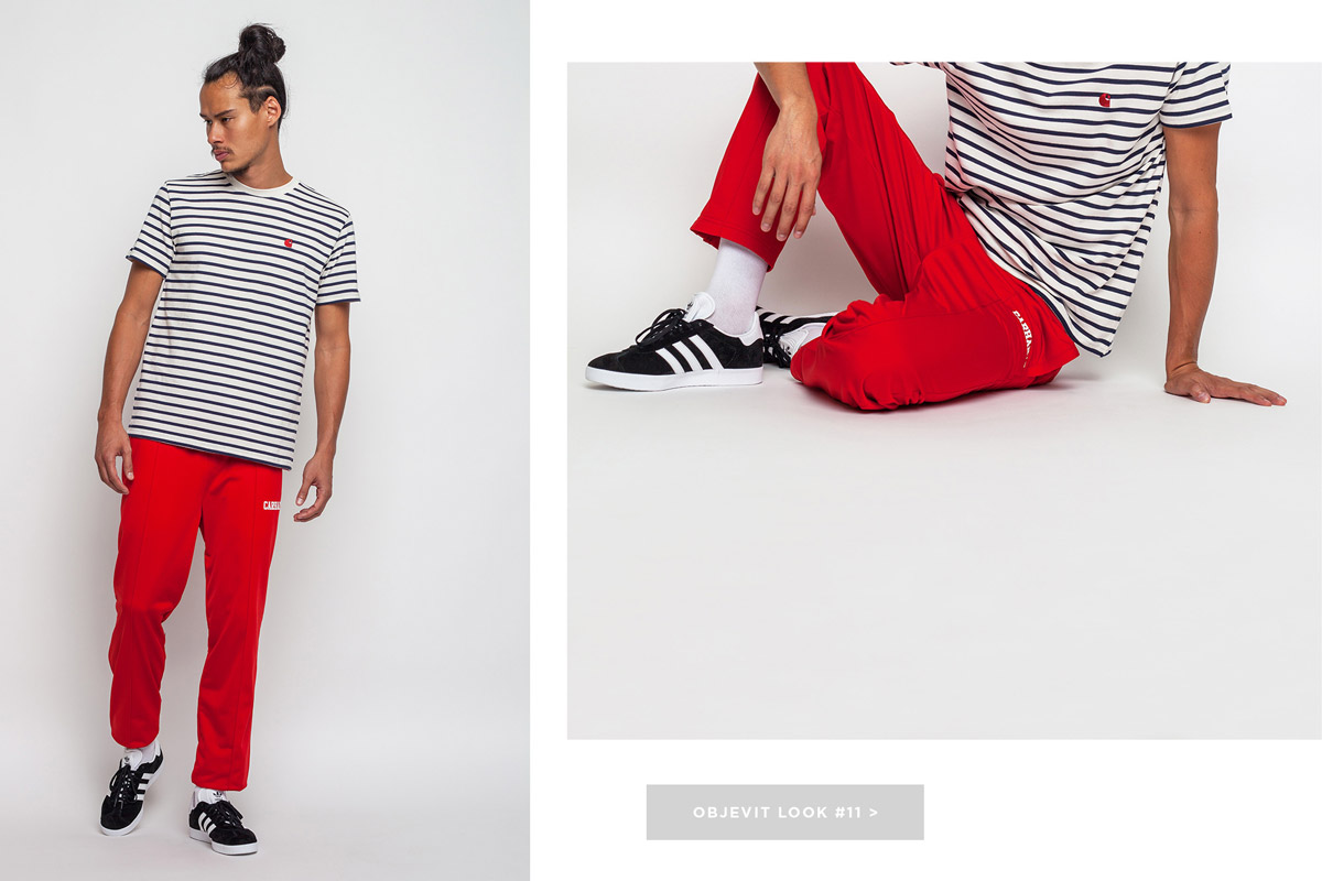 Freshlabels — lookbook — podzim/zima 2016 — pánské červené tepláky Carhartt WIP — černobílé proužkované tričko Carhartt WIP