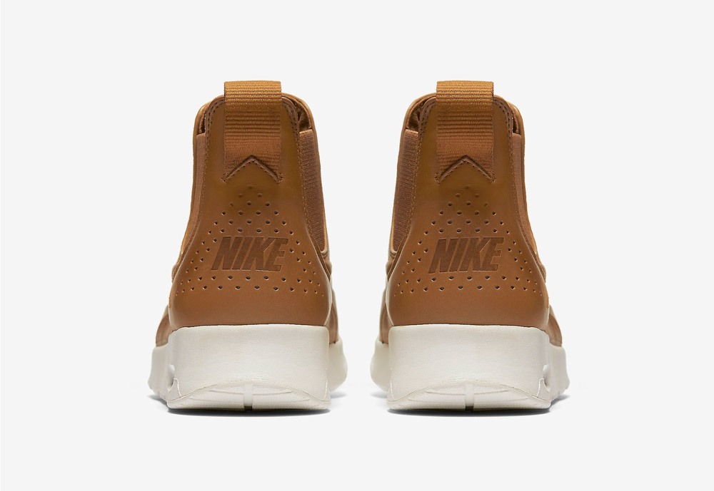 Nike Air Max Thea Mid — dámské kotníkové boty — hnědé, béžové, pískové — zadní pohled — hnědé, béžové, pískové
