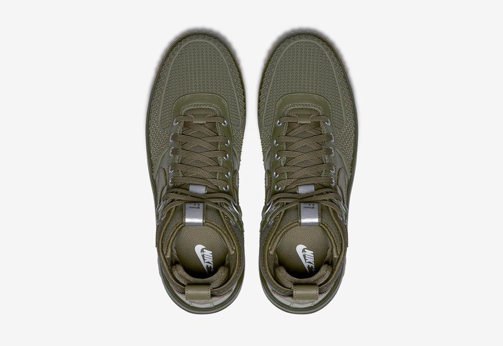 Nike Lunar Force 1 Duckboot — zimní boty — pánské — zelené, olivové — horní pohled