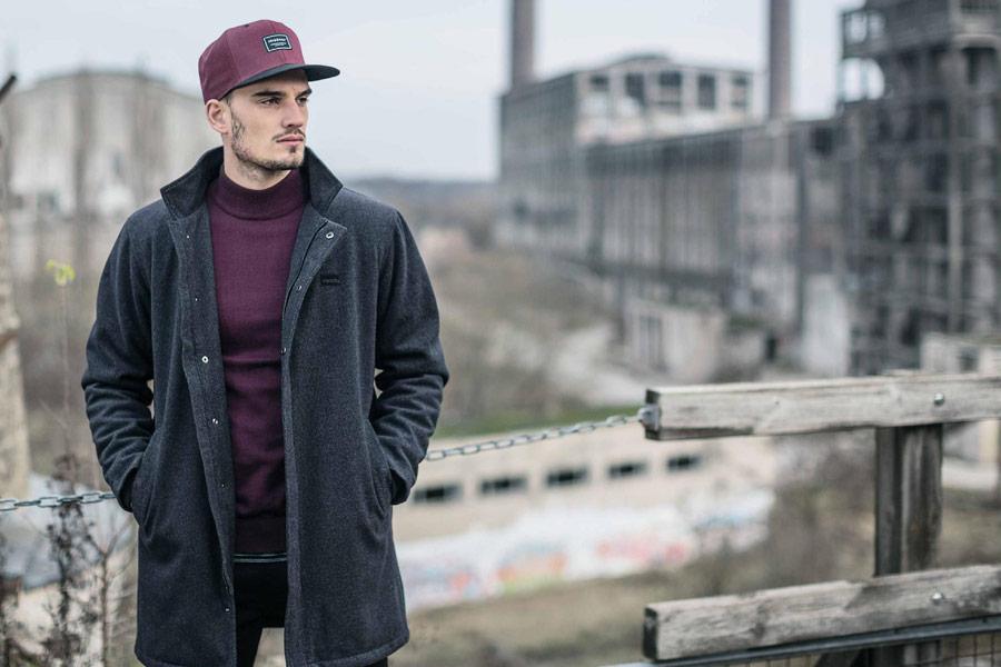 Iriedaily — pánský kabát z vlny se stojáčkem — tmavě šedý — podzim/zima 2016