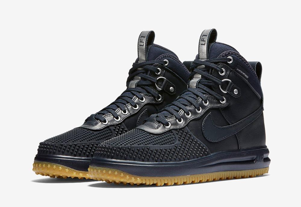 Nike Lunar Force 1 Duckboot — pánské zimní boty — vysoké — kotníkové, sportovní — tmavě modré
