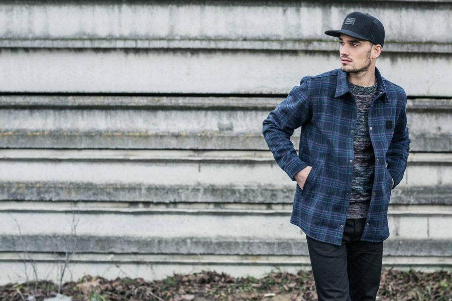 Iriedaily — pánská kostkovaná bunda s límcem — modrá — podzim/zima 2016