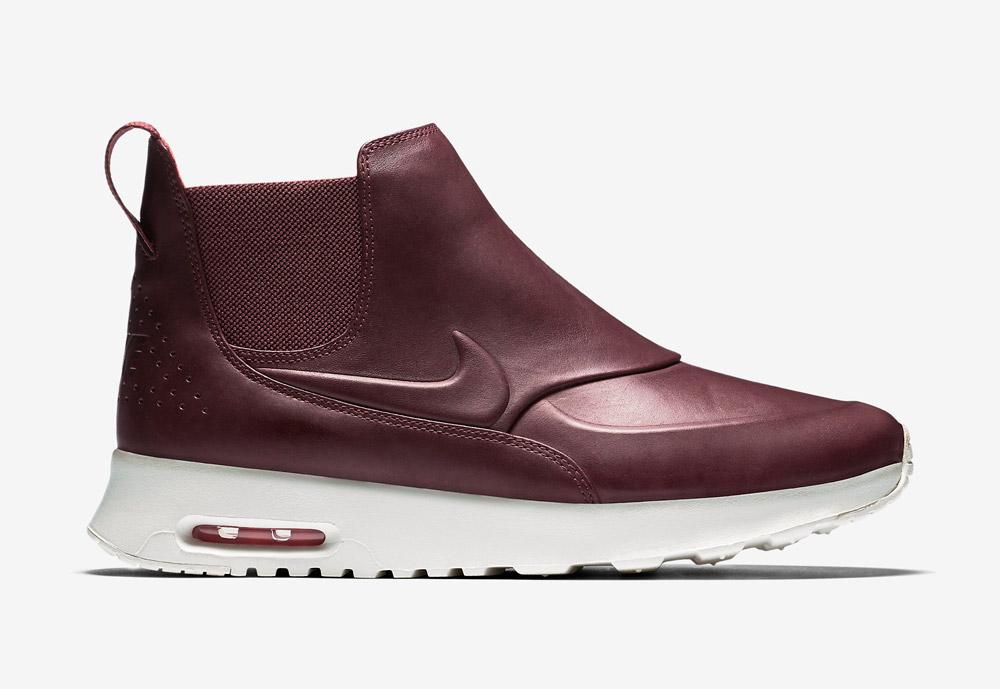 Nike Air Max Thea Mid — dámské kotníkové boty — kožené — slip on — dámská perka (Chelsea Boots) — vínové, tmavě červené