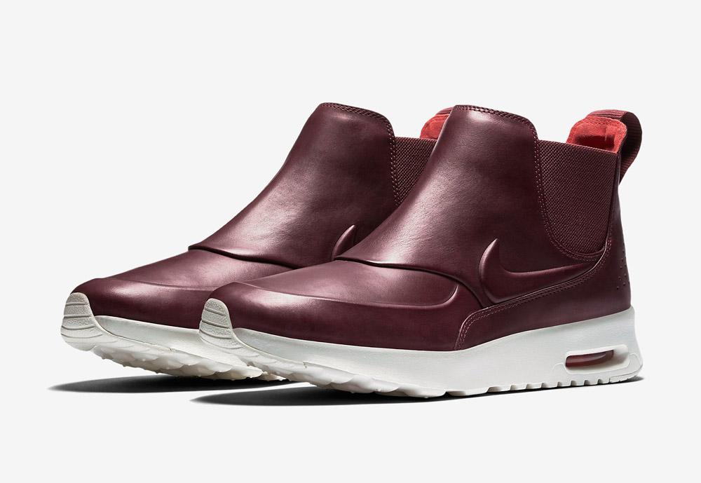 Nike Air Max Thea Mid — kotníkové boty — dámské — kožené — slip on — dámská perka (Chelsea Boots) — vínové, tmavě červené