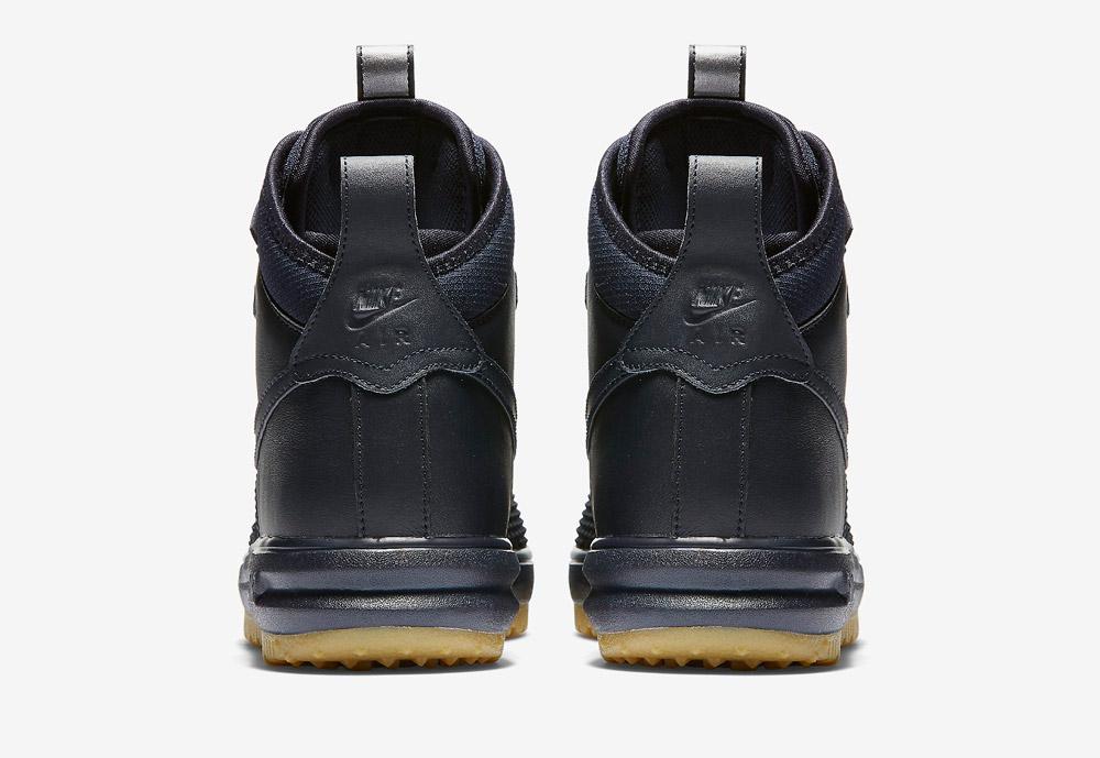 Nike Lunar Force 1 Duckboot — vysoké zimní boty — pánské — tmavě modré — zadní pohled