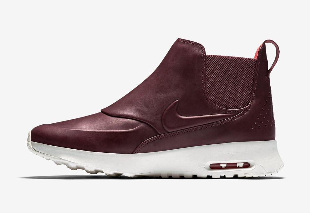 Nike Air Max Thea Mid — dámská perka (Chelsea Boots) — kožené — slip on — dámské kotníkové boty — vínové, tmavě červené
