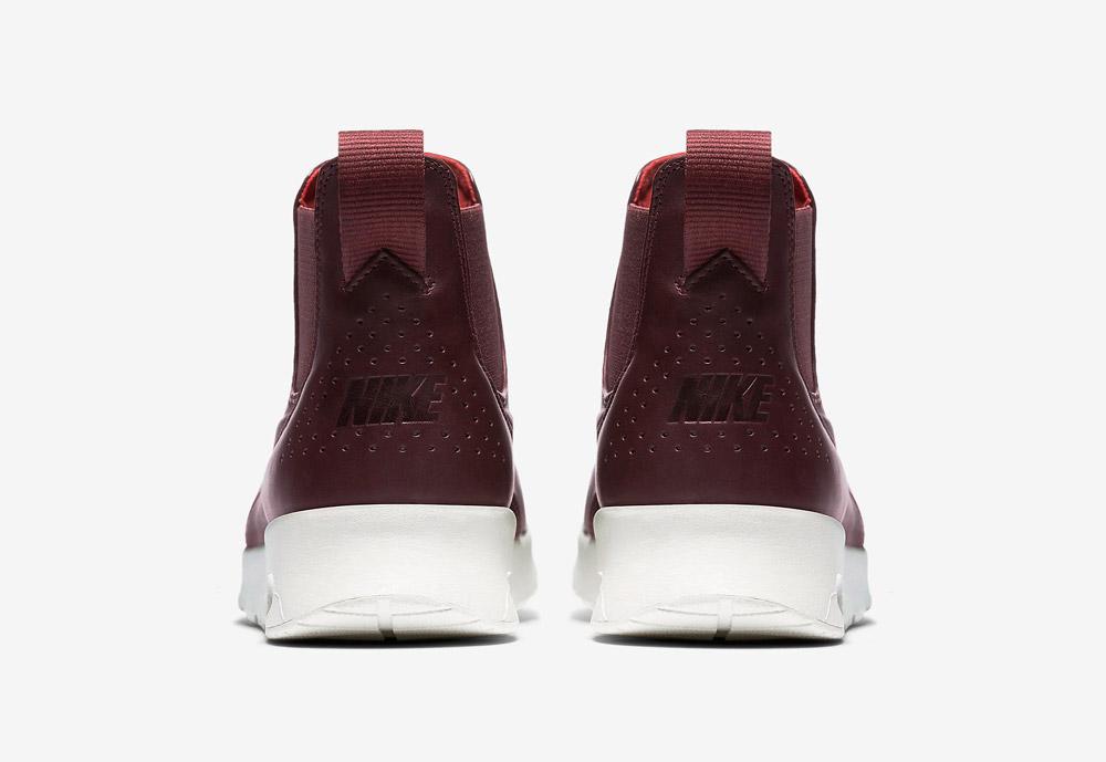 Nike Air Max Thea Mid — dámské kotníkové boty — vínové, tmavě červené — zadní pohled — vínové, tmavě červené