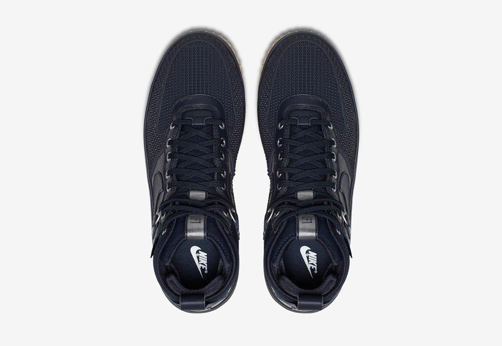 Nike Lunar Force 1 Duckboot — zimní boty — pánské — tmavě modré — horní pohled