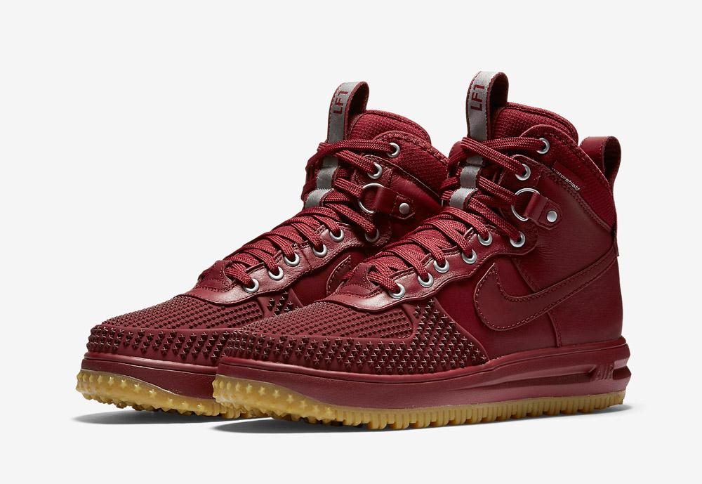 Nike Lunar Force 1 Duckboot — pánské zimní boty — vysoké — kotníkové, sportovní — červené