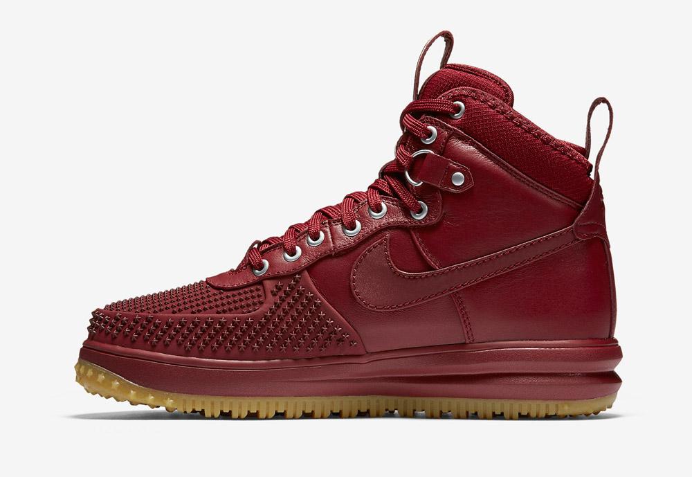 Nike Lunar Force 1 Duckboot — zimní boty — pánské — vysoké, kotníkové, sportovní — červené